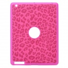 Artificial Leopard Leather Cover Protective Silicone Back Case for Ipad 2 / The New Ipad - Magenta