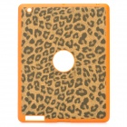 Artificial Leopard Leather Cover Protective Silicone Back Case for Ipad 2 / The New Ipad - Orange