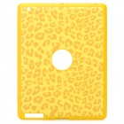 Artificial Leopard Leather Cover Protective Silicone Back Case for iPad 2 / The New iPad - Yellow