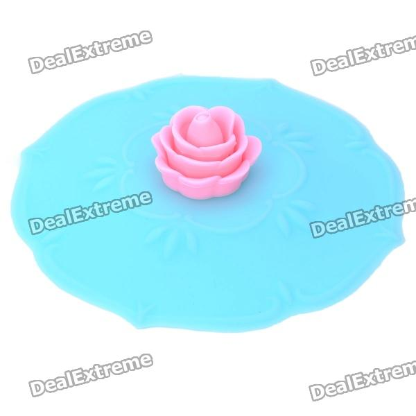Beautiful Rose Style Silicone Cup Cover Lid - Blue unique disk style silicone heat insulation cup pads blue black 2 pcs