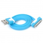 Double Color Flat USB Data & Charging Cable for iPhone / iPad - Blue + White (100cm)