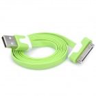 Flat USB Data & Charging Cable for iPhone / iPad - Green + White (100cm)