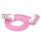 Flat USB Data & Charging Cable for iPhone / iPad - Pink + White (100cm)