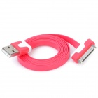 Double Color Flat USB Data & Charging Cable for iPhone / iPad - Red + White (100cm)