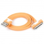 Flat USB Data & Charging Cable for iPhone / iPad - Orange + White (100cm)