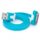 Double Color Flat USB Data & Charging Cable for iPhone / iPad - Aqua Green + White (100cm)