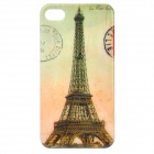 Retro Eiffel Tower Pattern Protective Plastic Back Case for Iphone 4 / 4S - Yellow + Green + Grey