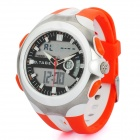 Fashion Analog + Digital Waterproof Wristwatch w/ Blue Backlight/Alarm/Stopwatch - Orange + White
