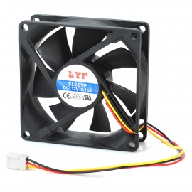 3-Pin Computer PC Case Cooling Cooler Fan - Black (8*8cm)