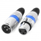 XLR Female + 3-Pin Male Jack Set Adapters Connectors - Black + Silver + Blue (5 Pair)