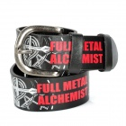 Fashion Full Metal Alchemist Pattern Leather Belt - Black + Red