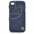 Jean Cover Protective Plastic Back Case for iPhone 4 / 4S - Deep Blue
