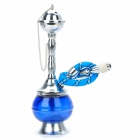 Elegant Mini Shisha Hookah Water Pipe Set - Blue + Silver