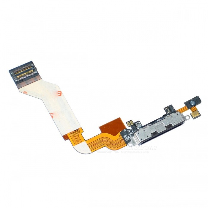 Replacement Charging Dock Port Connector Flex Cable for Iphone 4S - Black replacement charging tail plug connector flex cable for iphone 6 4 7 black blue multi colored