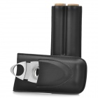 Cowhide 2-Cigar Cigar Holder + Zinc Alloy Cigar Cutter Set - Black + Silver