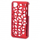Electroplate Water Cube Skeleton Pattern Protective Plastic Back Case for Iphone 4 / 4S - Red