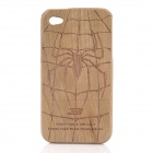 Detachable Spider Pattern Protective Wooden Back Case for iPhone 4 / 4S - Brown