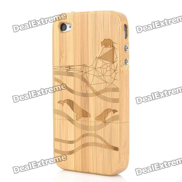 Detachable Dolphin Pattern Protective Bamboo Back Case for iPhone 4 / 4S - Yellow