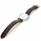 Elegant PU Band Men's Quartz Wrist Watch - Brown + White (1 x LR626)