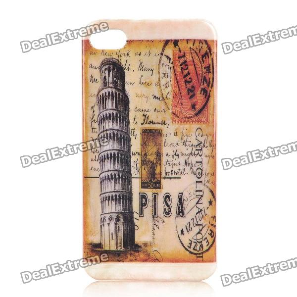 Retro The Leaning Tower of Pisa Pattern Protective Plastic Back Case for Iphone 4 / 4S dream capture bell pattern protective plastic back case for iphone 6 4 7 black purple