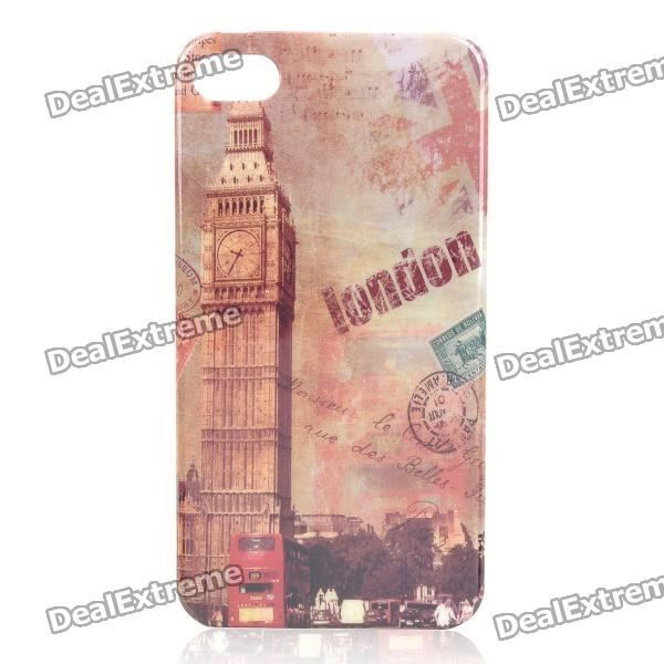 Retro Big Ben Pattern Protective Plastic Back Case for Iphone 4/4S - Close Shot retro double big ben pattern protective plastic case for iphone 4 4s brown beige