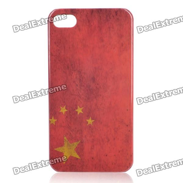 Retro China National Flag Pattern Protective Plastic Back Case for Iphone 4 / 4S - Red цена и фото