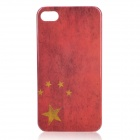 Retro China National Flag Pattern Protective Plastic Back Case for Iphone 4 / 4S - Red