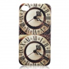 Retro Double Big Ben Pattern Protective Plastic Case for Iphone 4 / 4S - Brown + Beige