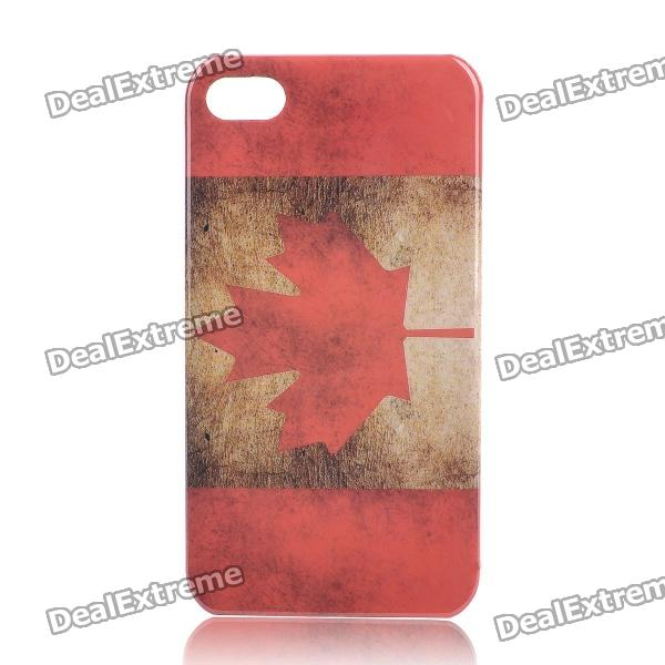 Retro Canada National Flag Pattern Protective Plastic Back Case for Iphone 4 / 4S - Red + Brown цена и фото