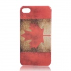 Retro Canada National Flag Pattern Protective Plastic Back Case for Iphone 4 / 4S - Red + Brown