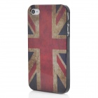 Retro The UK National Flag Pattern Protective Plastic Back Case for Iphone 4 / 4S - Red + White