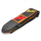 High-Quality Adjustable Embroidery PU Guitar Strap - Red + Black + Yellow (60-120cm)