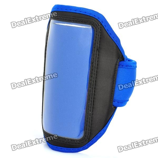 Stylish Sport Armband for HTC One X / S720e - Black + Blue sporty nylon armband for htc desire hd hd2 evo 4g black blue