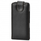 Protective PU Leather Top Flip Case w/ Plastic Holder for Sony Xperia S / LT26i - Black