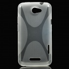 Protective Soft Plastic Back Case w/ Cross Pattern for HTC One X - White