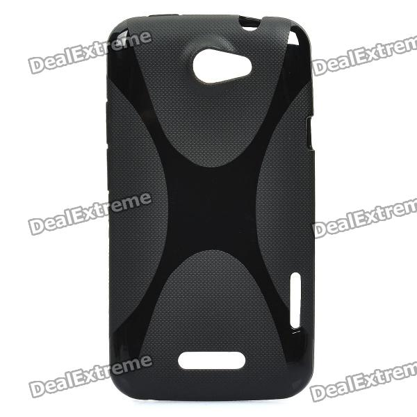Protective Plastic Back Case w/ X Pattern for HTC One X - Black matte protective pe back case for htc one x s720e red