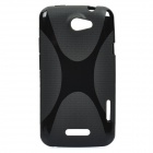 Protective Plastic Back Case w/ X Pattern for HTC One X - Black