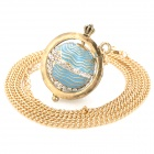 Elegant Rhinestone Globe Style Pendant Necklace - Golden + Blue