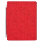 Decorative Ultra-Thin Protective Matte PU Leather Smart Cover for iPad 2 / The New iPad - Red