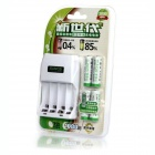 SUNQS AA/AAA 4-CH Battery Quick Charger w/ 4 x 2000mAh Rechargeable AA - White (2-Flat-Pin Plug)