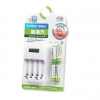 SUNQS AA/AAA 4-CH Battery Quick Charger w/ 4 x 2700mAh Rechargeable AA - White (2-Flat-Pin Plug)