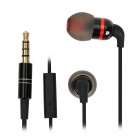Stylish In-Ear Earphone w/ Microphone for iPhone / HTC - Black + Grey (3.5mm Plug)