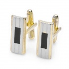 Flat Cuboid Style Cuff Links/Buttons - Black + Golden
