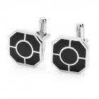 Inner Circle Radiate Style Cuff Links/Buttons - Black + Silver (Pair)