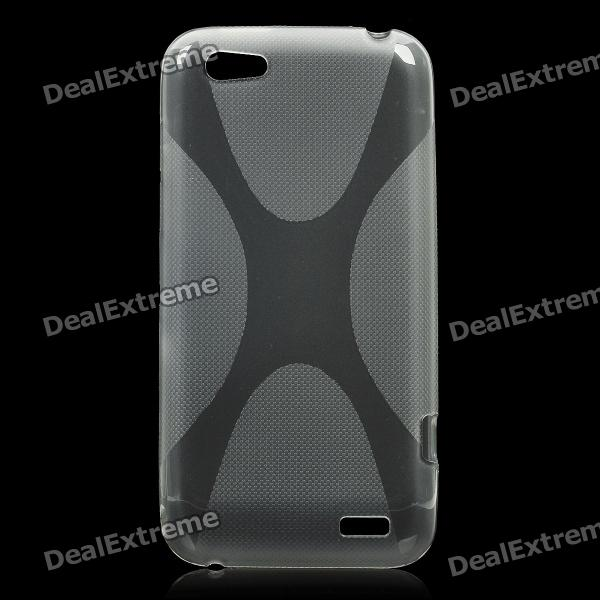 Protective Plastic Back Case w/ X Pattern for HTC One V - Grey matte protective pe back case for htc one x s720e red