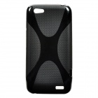 Protective Soft Plastic Back Case w/ X Pattern for HTC One V - Black