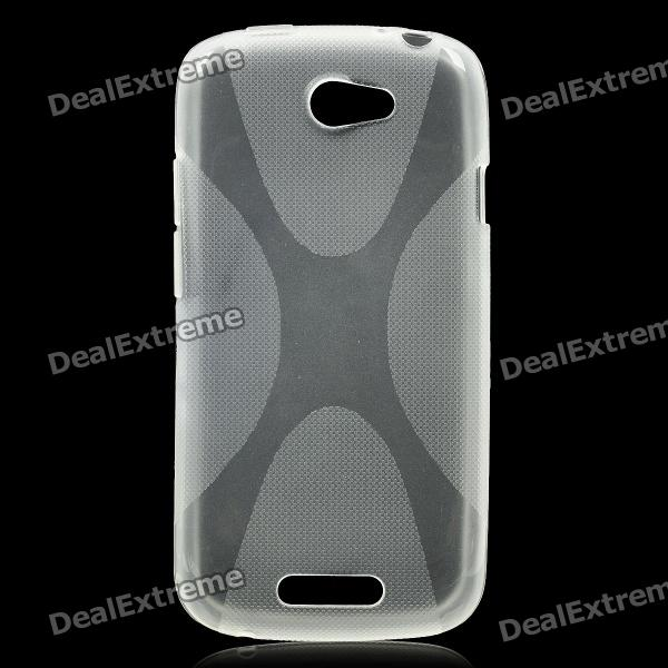 X Pattern Protective Back Case for HTC One S - Transparent White matte protective pe back case for htc one x s720e red