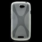 X Pattern Protective Back Case for HTC One S - Transparent White