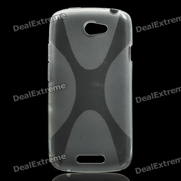 X Pattern Protective Plastic Back Case for HTC One S - Transparent Grey mesh style protective back case for htc one x s720e deep pink