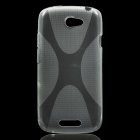 X Pattern Protective Plastic Back Case for HTC One S - Transparent Grey